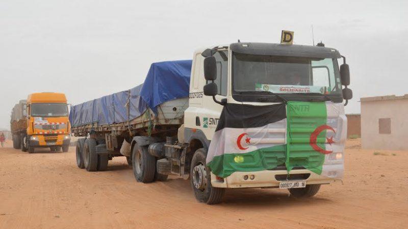 تحمل الأعلام والشعارات وعلب الصابون،  الجزائر  ترسل شاحنات شبه فارغة من المساعدات إلى المحتجزين الصحراويين بتندوف