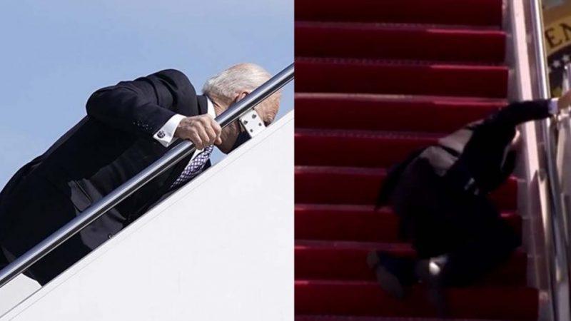 البيت الأبيض يكشف سبب سقوط بادين المتكرر أثناء صعوده سلم الطائرة (فيديو)