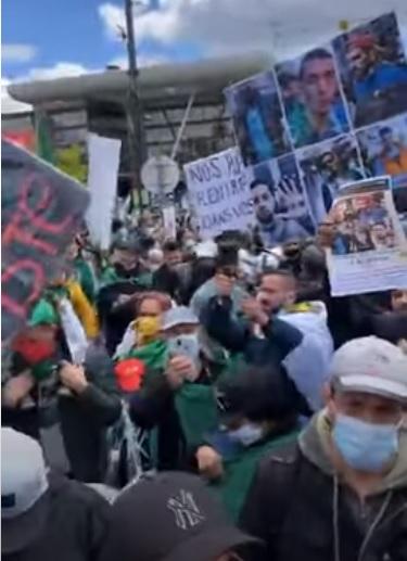 وقفة احتجاجية للجالية الجزائرية أمام المحكمة الاوروبية لحقوق الانسان ضد الاعتقالات والاغتصابات في مراكز الأمن
