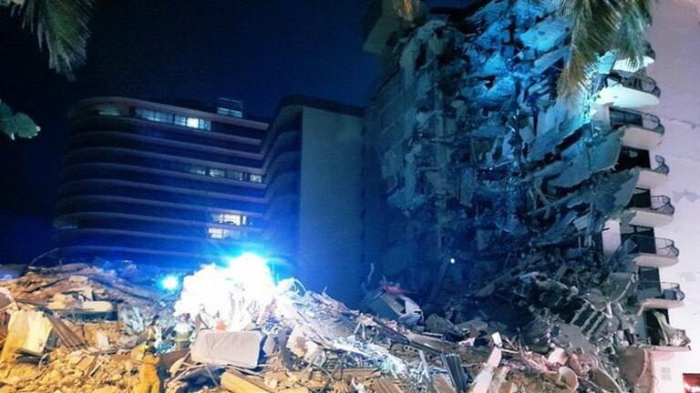 انهيار مبنى سكني مكون من 11 طابقا في ميامي