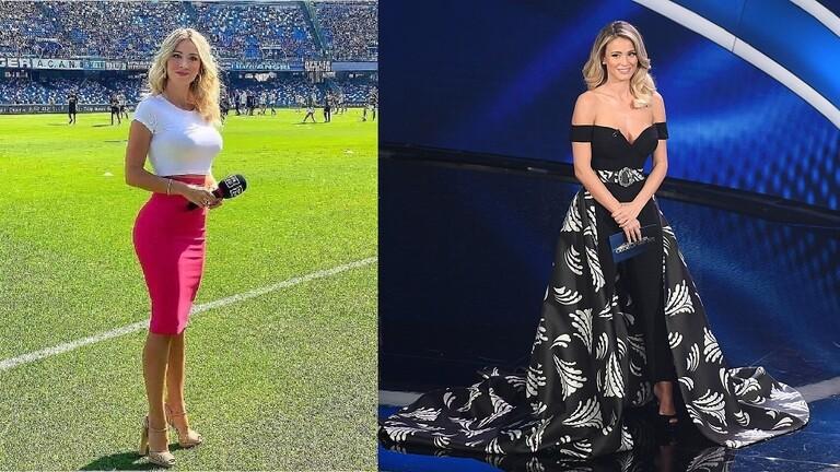 """لوحة فنية جميلة للمذيعة الإيطالية الشقراء ليوتا بملعب ليفربول """"أنفيلد"""""""